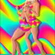 Dance party scene with two blond 3d fashion and beauty models posing together against a colorful abstract background. — Stock fotografie #62925187