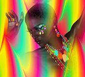 Linda mulher negra sobre fundo colorido, Arte Digital abstrata. — Fotografia Stock