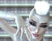 Dragon tattoo sci fi girl with futuristic outfit, Mohawk hairstyle and glowing abstract background. — Stock Photo