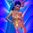 Asian woman with sexy body,posing. Beautiful face, cosmetics, diamonds and jewelry adorn this Asian girl, all set against an abstract blue background with wave pattern. — Stock Photo #65621417
