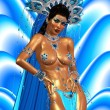 Asian woman with sexy body,posing.  Beautiful face, cosmetics, diamonds and jewelry adorn this Asian girl, all set against an abstract blue background with wave pattern. — Stock Photo #65621445