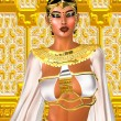 White Queen.  Egyptian digital art fantasy image of a goddess in white and gold standing against a glittering gold background with white diamonds. — Stock Photo #65623365