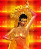 Asian woman with sexy body, belly dancing.  Beautiful face, cosmetics, diamonds and jewelry adorn this Asian girl, all set against an abstract gold background with glowing lights and unique pattern. — Stock Photo