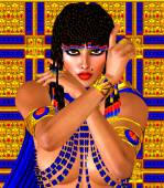 Cleopatra or any Egyptian Woman Pharaoh. Modern digital art fantasy. Set on a gold and blue abstract background — Stock Photo