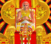 Egyptian Pharaoh Ramses seated on throne. A modern digital art version of an ancient Egyptian king. — Stock Photo