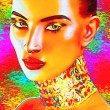 Exotic beauty, a digital art creation of a seductive woman's face, close up.  A colorful jewel necklace and matching abstract background enhance this fashion and beauty look. — Stock Photo #73519679