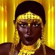 A beautiful young African woman wearing gold jewelry against a gold abstract background. A unique digital art creation of fashion and beauty. — Stock Photo #77156503
