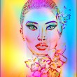 Beautiful Girl With Orchid Flowers. Abstract digital art of floral and woman's face combined in a colorful gradient to create a modern digital art piece. — Stock Photo #77157043