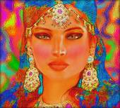 Abstract digital art of Indian or Asian woman's face, close up with colorful veil. An oil paint effect and glowing lights are added for a more modern art look and feel to this beauty and fashion scene. — Stock Photo