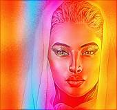 有灵性的女人脸上密切联系与多彩的抽象渐变效果,增加了神秘的面纱. — 图库照片
