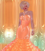Blonde bombshell in a peach evening gown against a matching abstract background with glowing lights. — Stock Photo