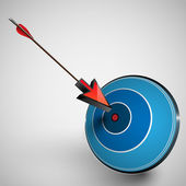 Arrow hitting dartboard — Stock Vector