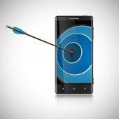 Arrow hitting smartphone monitor — Stock Vector