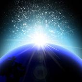 Orbit sunrise in space — Stockvektor
