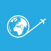Globe and plane icon — Stock Vector