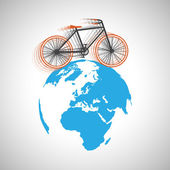 Bicycle going around the globe — Stock Vector