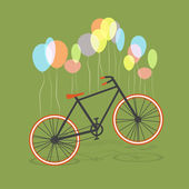 Bicycle on colorful balloons — Stock Vector