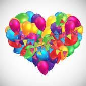 Heart shaped balloons illustration — Stock Vector