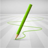 Green pencil leaving trail — Stock Vector