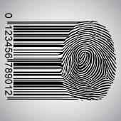 Fingerprint becoming barcode — Stock Vector