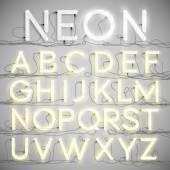 Realistic neon alphabet — Stock Vector