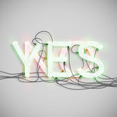 YES and NO, made by NeON typeset — Stock Vector