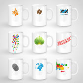 Realistic colorful white mugs — Stock Vector