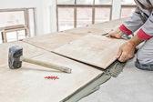 Floor tile installation — Stock Photo