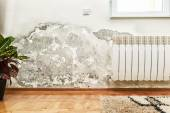 Mold and moisture buildup on wall of a modern house — Stock Photo
