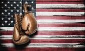 American flag and boxing gloves — Stock Photo