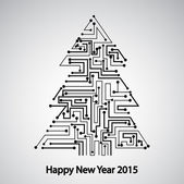 Circuit board, Tree for the new year — Stock vektor