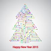 Circuit board, Tree for the new year — Vetor de Stock