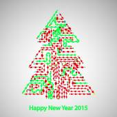 Circuit board, Tree for the new year — Stock Vector