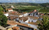 Town within castle walls, Obidos, Portugal — 图库照片