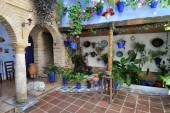 Courtyard decorated with flowers, Cordoba, Spain — Stock Photo