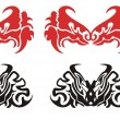 Red and black dragon head. Dragons heads butterflies — Stock Vector #55756097