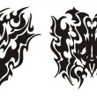 Постер, плакат: Tribal dragon head and dragon butterfly tattoo