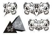 Tribal lying lioness symbol with a paw and a lioness pyramid — Vecteur