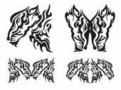 Tribal tattoo wild fox elements — Stock Vector
