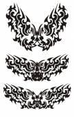 Three butterflies inspiring fear in tribal style — Stock Vector