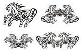 Tribal running horse symbols — Stock Vector