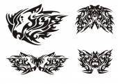Flaming black dragon head and butterflies in tribal style — ストックベクタ
