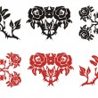 The blossomed rose in black and red options — Stock Vector #66756715