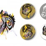 Donkey psychedelic splashes symbols — Stock Vector #70012351