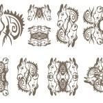 Donkey symbols in tribal style — Stock Vector #70012355