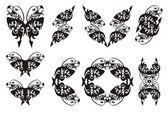 Tribal double eagle head symbols — Stock Vector