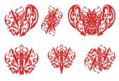 Tribal red wolf heart, wolf crown, devil butterfly and other wolf symbols — Stock Vector