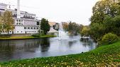 Fountain. park in city.waterworks.riga — Stock Photo