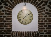 Wall clock. old stylish clock. time is money — Stock Photo