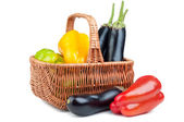 Basket with pepper and eggplant — Foto de Stock